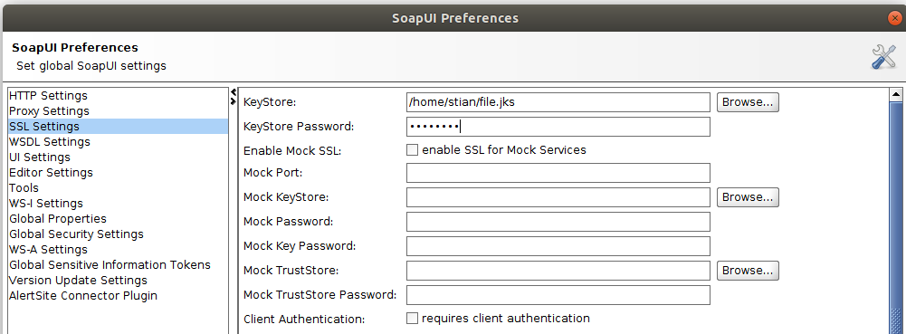 Screenshot of SoapUI settings showing how to set the keystore